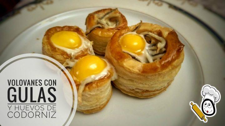 Volovanes con gulas y huevos de codorniz