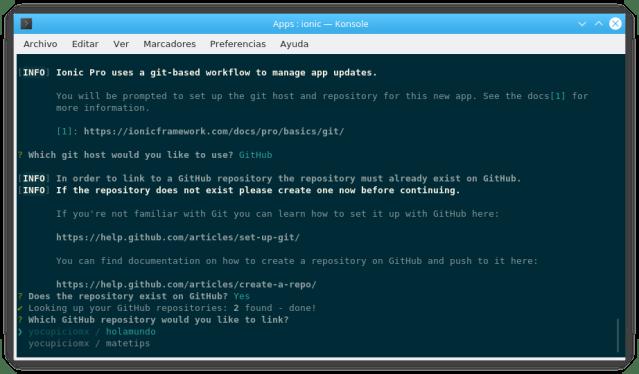 Elección del Repositorio previamente creado en GitHub
