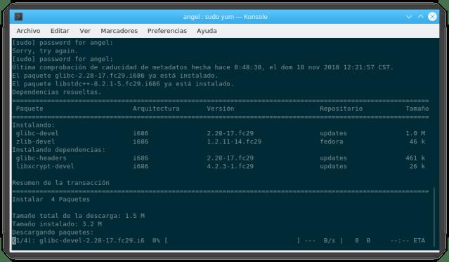Instalando complementos de Fedora en 32 bits