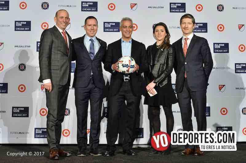 Don Garber-Andrew Hauptman-Rahm Emanuel-MLS Allstar game Juego de estrellas chicago