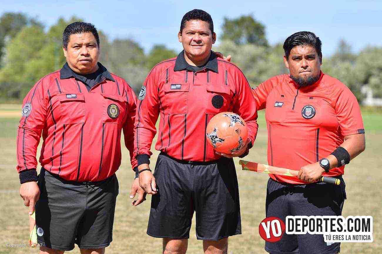 Arbitro Leonardo Rolon-Danilo Caballero-Miguel Gutierrez-Deportivo Latino-Artilleros Brasil-Liga 5 de Mayo