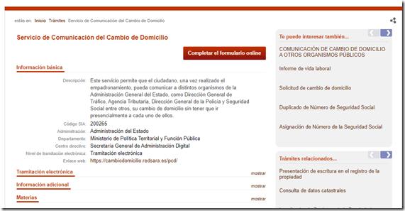 Comunicación Cambio de Domicilio España
