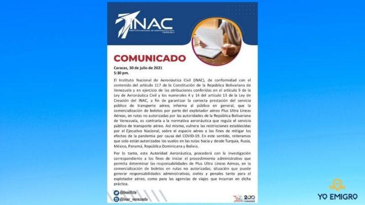 Comunicado del INAC respecto a los vuelos de Plus Ultra entre Venezuela y España
