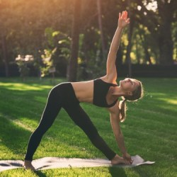 morning yoga pose triangle