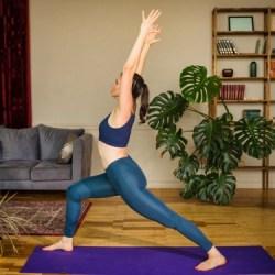morning yoga pose warrior 1
