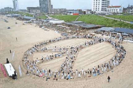 Yoga devotees seeking world peace in the Netherlands.