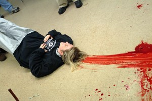 photo of dragging bloodstain
