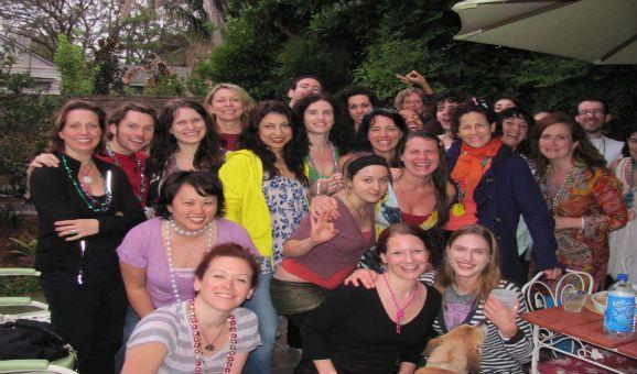 Candid in New Orleans of Laughing Lotus - Dana Flynn, Brian Castellani, Jennifer Beurgermiester. Laughing Lotus, Brian Castellani and Yoganomics.