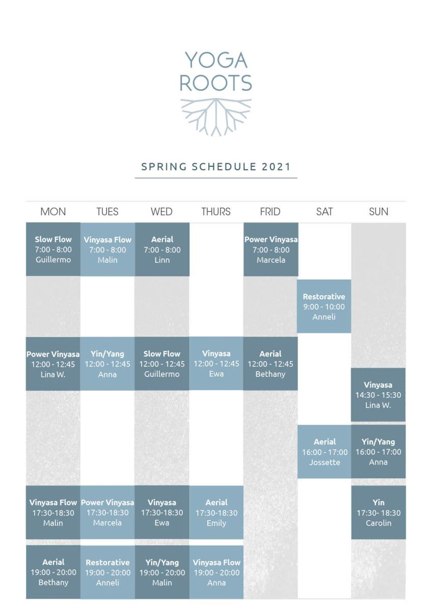 Roots New Schedule Spring 2021