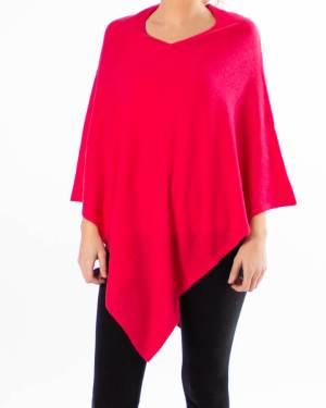 Rød poncho av kasjmir / cashmere uten knapper