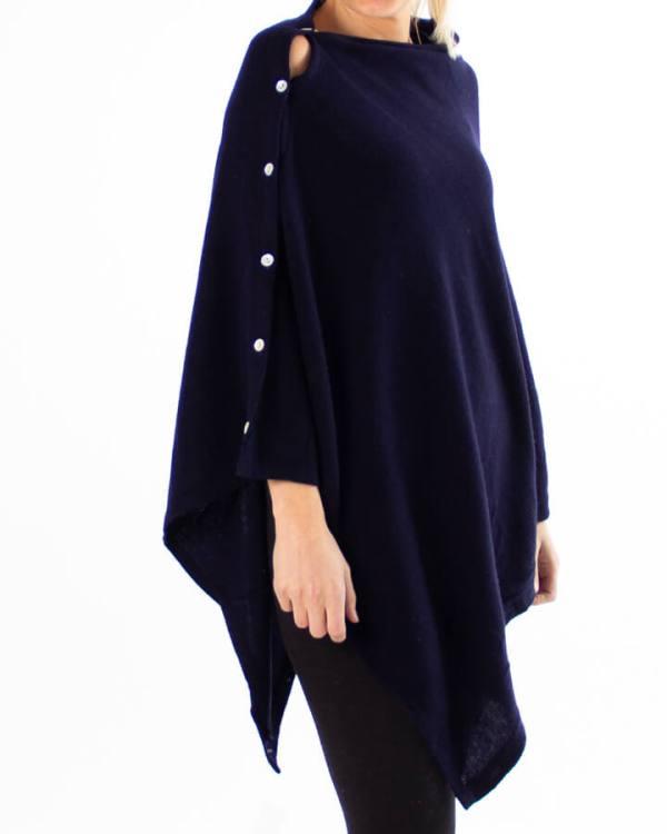 Mørk blå poncho av kasjmir / Cashmere