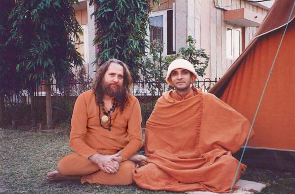Swami Ayyappa Giri enjoying satsang with Swami Niranjananda