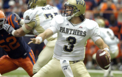 Pittsburgh quarterback Tyler Palko (3) sets to throw against Syracuse during the first quarter of a college football game in Syracuse, N.Y., Saturday, Oct. 7, 2006. (AP Photo/Kevin Rivoli)