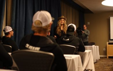 Alexis Jones speaks at the 2016 The Elite 11 Finals in Los Angeles, CA.