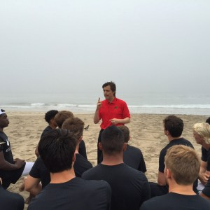 Dr. Michael Gervais coaches the QBs at the Elite 11 Finals.