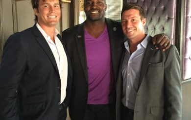 Thuzio's Brett Hughes, Marcellus Wiley and Yogi Roth after their conversation in LA