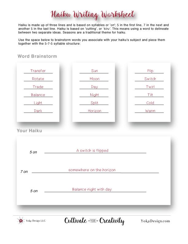 Free Printable Haiku Worksheet