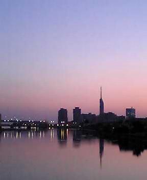 室見橋から福岡タワーの方向を