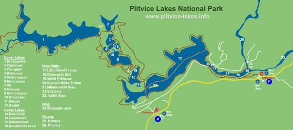 Plitvice Ulusal Park Haritası