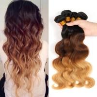 4 Bundles Body Wave Ombre Human Hair Weaves 1B/4/27 Hair ...