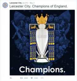 @LCFC - Leicester City. Champions of England.