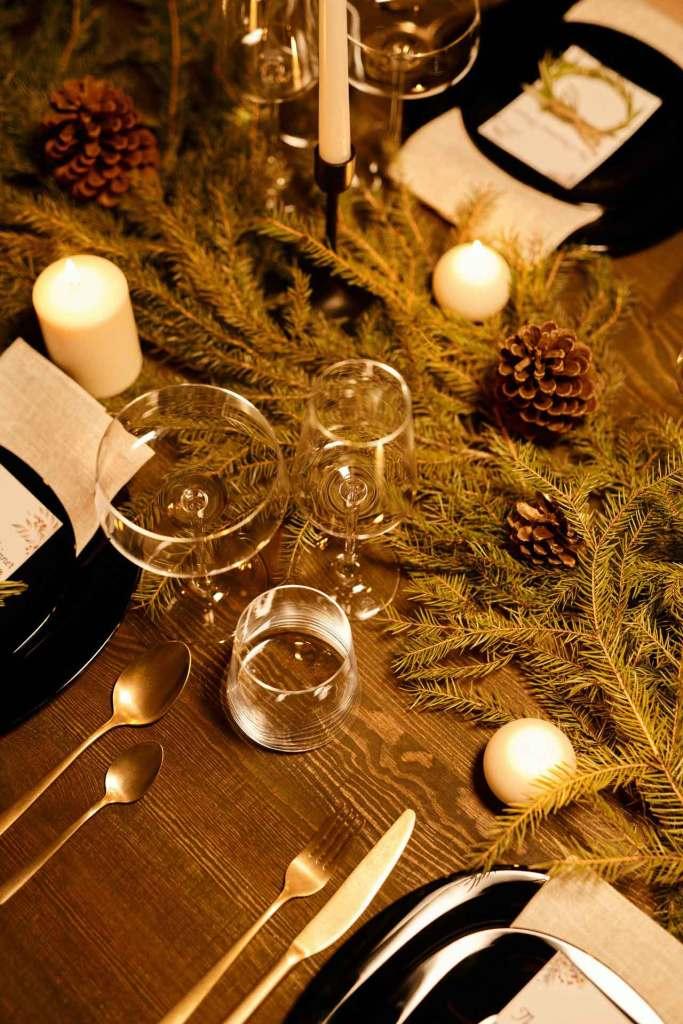 Decoración Navideña para mesas de comedor de madera