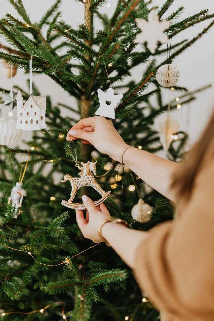 Árbol de navidad natural estilo vintage