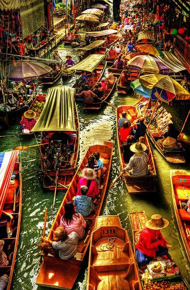 el mercado flotante bangkok tailandia