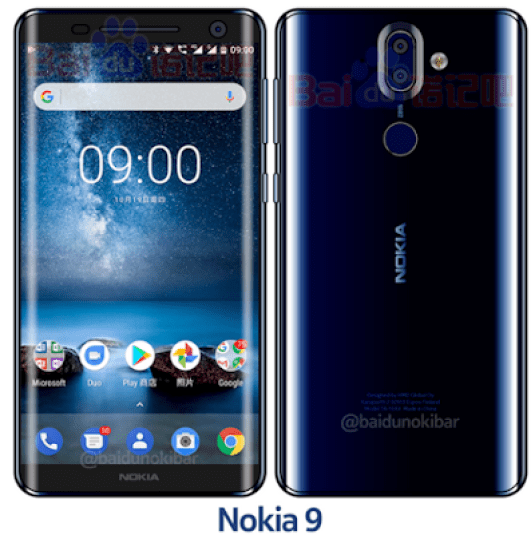 Sketches of Nokia 9, blue color