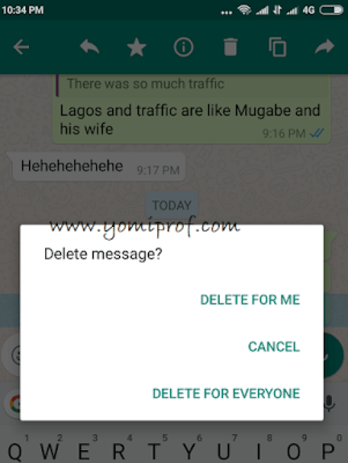 how to delete messages on whatsapp