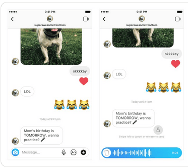 Instagram voice messaging