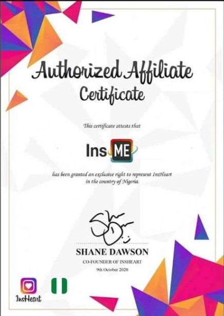Insme Affiliate certificate