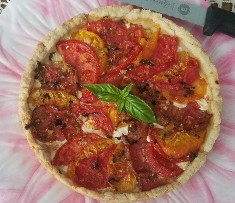 Heirloom Tomato Tart with fresh mozzarella, basil, and garlic