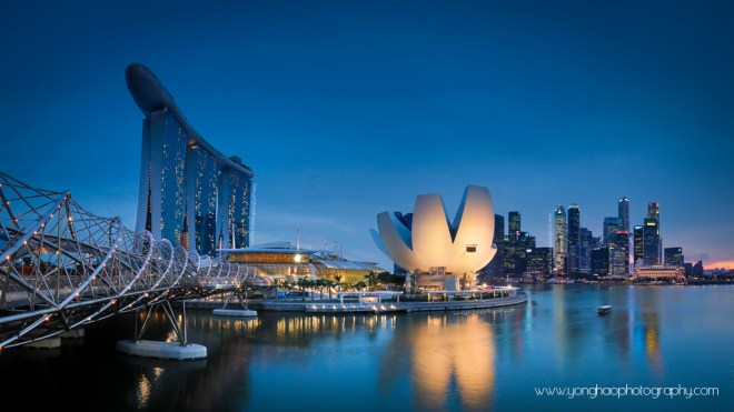 Singapore Skyline @ blue hour: Left Helix Bridge leading towards MBS, Art Sciene Museum & CBD on the right By YongHao Photography
