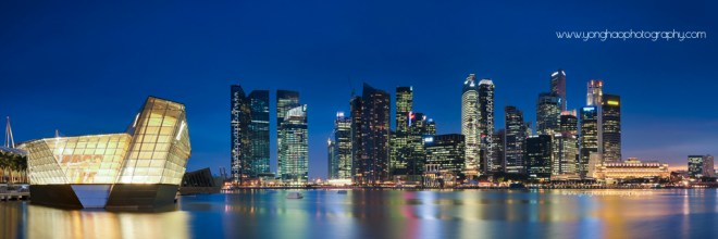 Panoramic Singapore Skyline: Louis Vuitton island maison, CBD, FUllerton Hotel