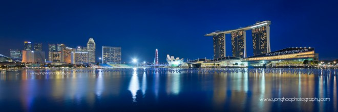 Singapore Skyline @ Blue Hour: MBS, Flyer & Floating platform Aspect Ratio 3:1
