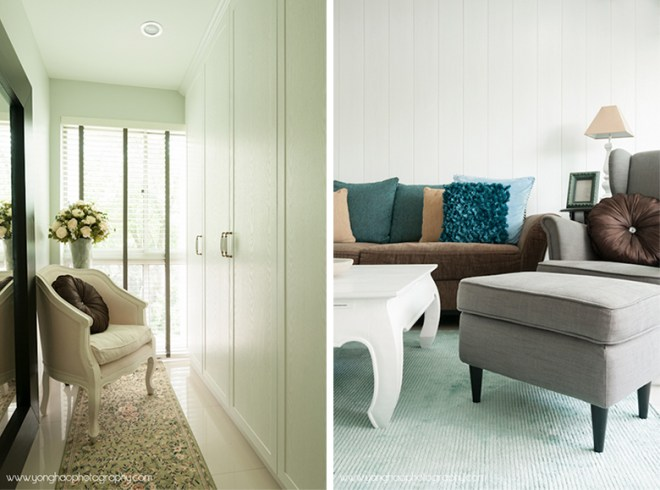 Left: Shoes closet, Right: Lifestyle shot of living room