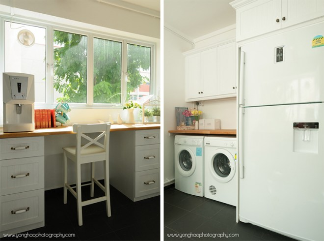 Left: Cosy area with beautiful sunshine, Right: Laundry area