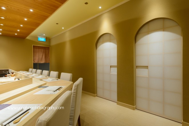 SUSHI KIMURA, Palais Renaissance, japanese restaurant, fine dining, interior photography, Singapore, orchard road, yonghao photography