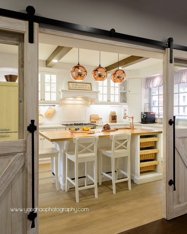 interior, interiors photography, residential, Country Concept, yonghao photography, singapore, HDB Masionette, country style kitchen, kitchen, photography services, wet kitchen, dry kitchen, white kitchen, hdb kitchen, barn door, country style