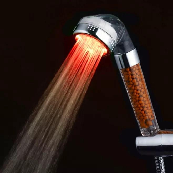 pommeau douche lumineux led rgb automatique capteur temperature filtre ions negatifs rond