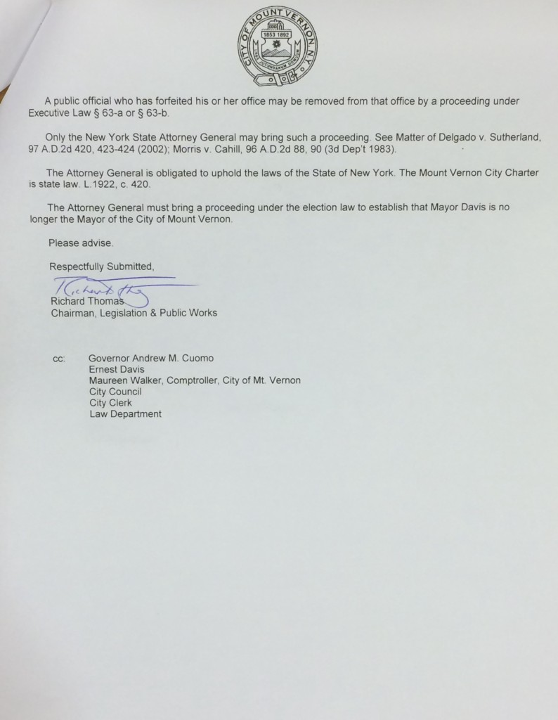 Attorney General Receives Letter to Remove Mayor Ernest