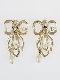 Chanel Goldtone Metal Crystal Bow Pearl Drop Clip-On ...