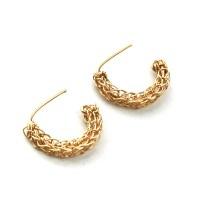 Stud hoop earrings , small gold post earrings -Yoola