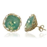 Ocean green post earrings , wire crochet gold filed mint ...