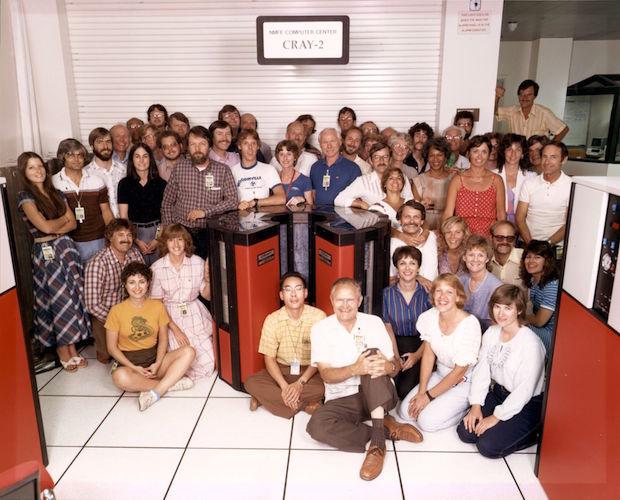 NERSC 25th Anniversary: NMFE Computer Center CRAY-2 at LLNL, NERSC Staff 1985