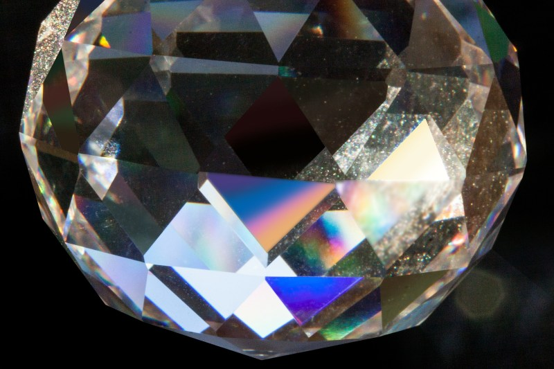 A prism ball refracts a spectrum of colors and qualities of light