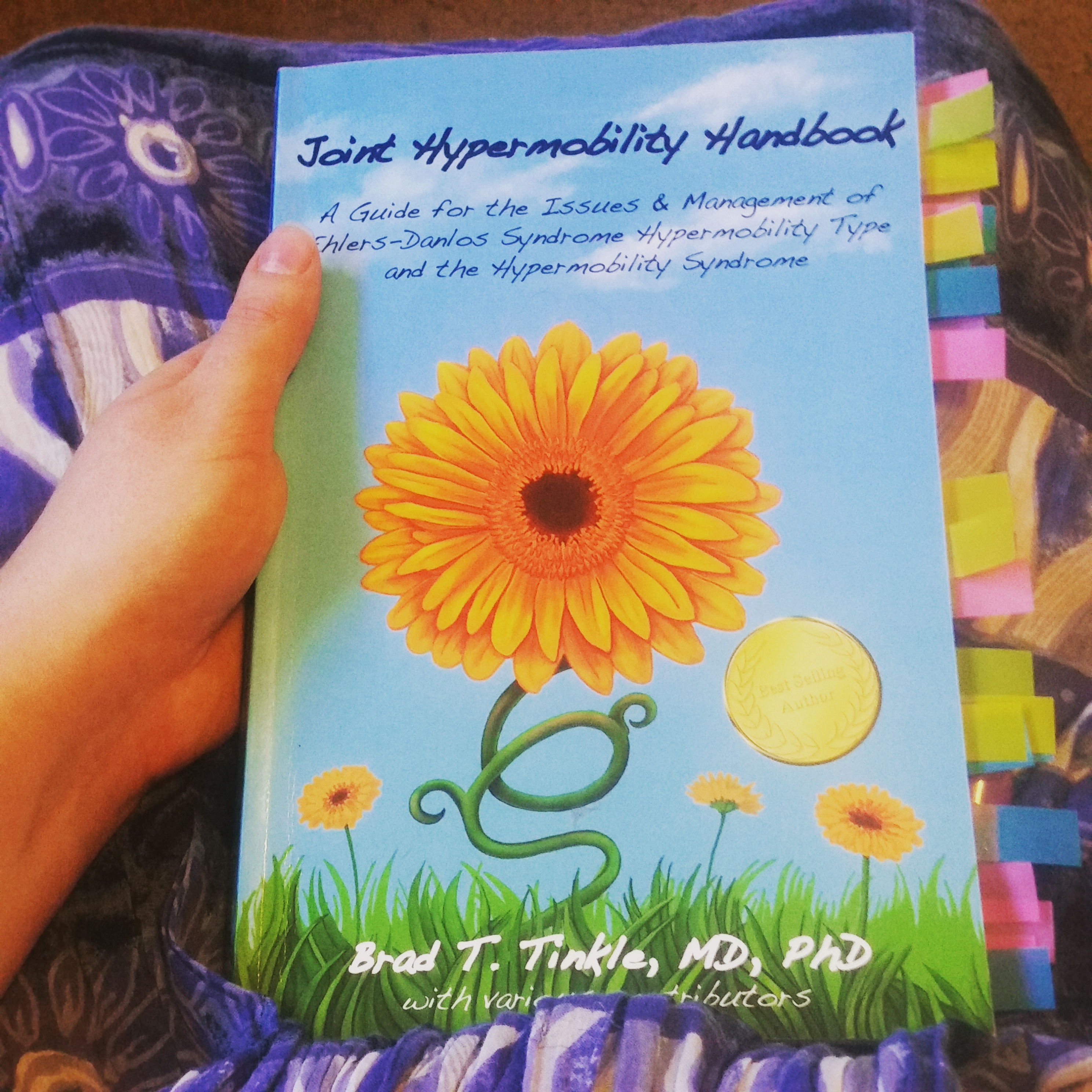 The blue book with an orange flower on the cover, lined with dozens of colorful bookmarks