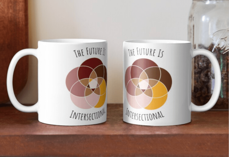 "Two white mugs showing our ""The Future Is Intersectional"" design, with five intersecting circles in Yopp's brand colors."