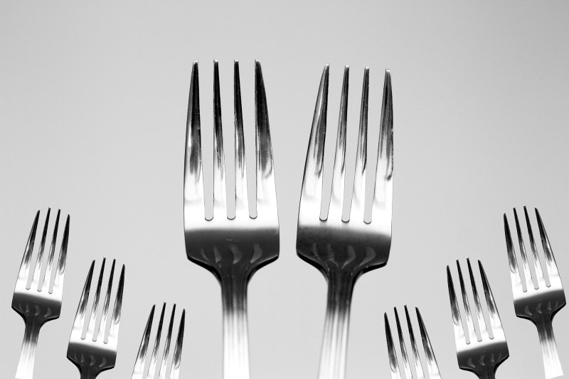Two identical silver forks sit upright next to each other on a light grey background, accompanied by six other similar forks, as if the forks are in a band and the front two are the leading singers.